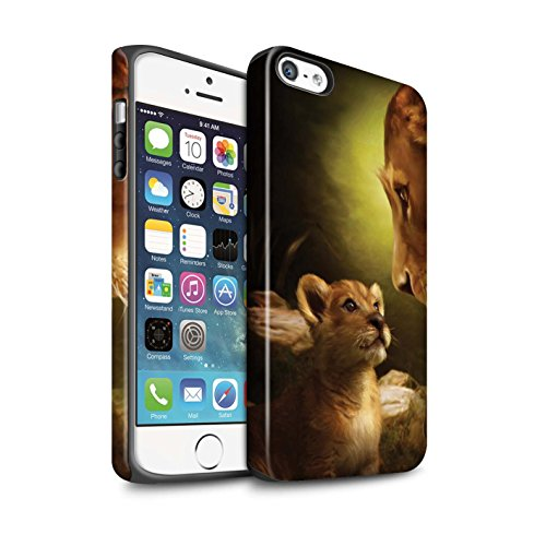Officiel Elena Dudina Coque / Matte Robuste Antichoc Etui pour Apple iPhone 5/5S / Jacinthe Design / Les Animaux Collection Oui Maman/Lion/Petit