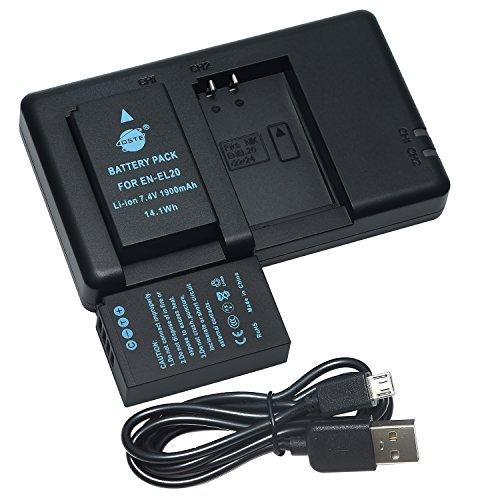 DSTE 2PCS EN-EL20 EN-EL20a(1900mAh/7.4V) Batterie Chargeur Compatible pour Nikon 1 J1,Nikon 1 J2,Nikon 1 J3,Nikon 1 S1,Nikon 1 V3,Nikon Coolpix A,Nikon 1 AW1,Blackmagic Pocket Cinema Caméra