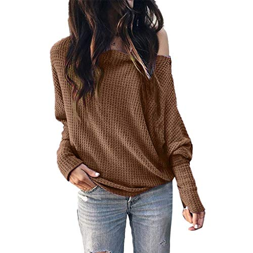 DaySing Pull à Lacets Femme Sweater Décontracté Sexy Couleur Unie Col en V Manches Longues Loose Casual Top Tricoté