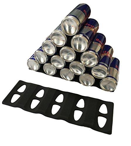 2x Stapelhilfe für Flaschen & Dosen Stapeln Stapel-Matte aus Silikon EXTRA GROSS - für bis 15 Dosen oder Flaschen - SCHWARZ