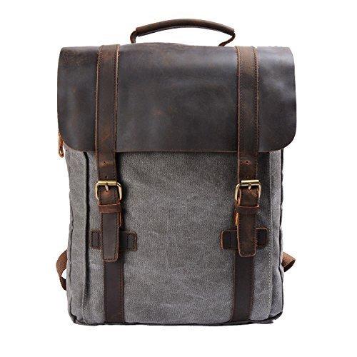 YANGYANJING Fashion Segeltuch Leder Canvas Vintage-Stil Unisex Junge Reisetasche Wandertasche 15 inch Laptop Rucksack f¨¹r Studenten Freizeit