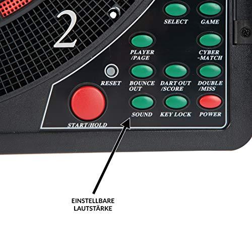 Ultrasport Cible de Fléchettes Électronique avec Portes, Jeu de Fléchettes pour 16 Joueurs, Inclus Ligne de Départ, 12 Fléchettes Souples et 100 Pointes « Soft Tip »