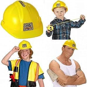300107 Casque de d'ouvrier de chantier pour déguisement Ajustable et solide Jaune Taille enfant