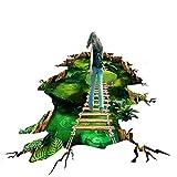 Vitila Kreative Rutschfeste Aufkleber Dekoration Wohnzimmer Schlafzimmer Bad Persönlichkeit 3D Wandaufkleber Lotus Teich Hängebrücke Selbstklebende Poster Pvc Abnehmbare Tapete