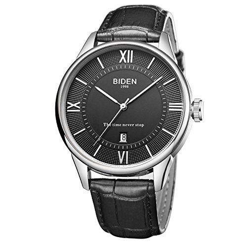 Armbanduhr, Herren-Armbanduhr, Casual Business Analog quirtz Datum Kalender Armbanduhr mit schwarz Leder Band Wasserdicht Einfache Fashion Design Armbanduhr