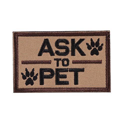 OneTigris Moral Patch Taktisches Stickerei Klett-Patch für Hund (ASK TO PET, Braun)