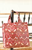 Licensed William Morris Red Strawberry Thief Small Shopping Pvc / Oilcloth Tote Bag Bag