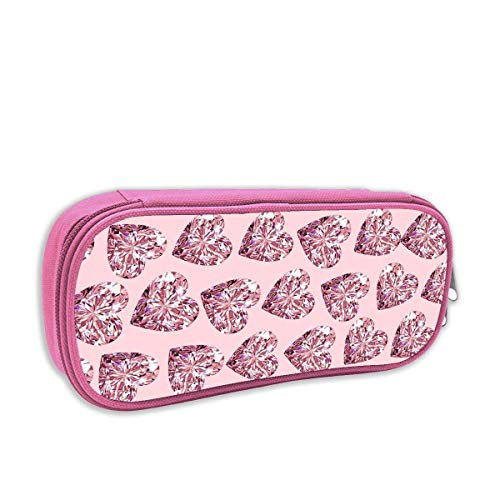 Bling Pink Heart Pencil Case Pouch Bag Multifunction Cosmetic Makeup Bag School Office Storage Organizer - Pink Hearts Bling
