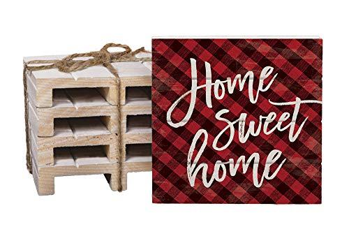 Home Sweet Home Buffalo Plaid Untersetzer aus getrocknetem Kiefernholz, 10,2 x 10,2 cm, 4 Stück Plaid Overlay