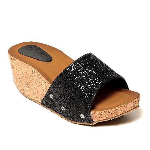 Adorn-Latest-fashion-Black-Synthetic-Leather-Women-Casual-Party-Wear-Wedges