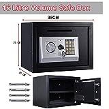 16L Safety Box Digital Elektronische Sicherheit Stahl Home Office Hotel Cash Geld Box Schwarz Größe (250x 350x 250) mm