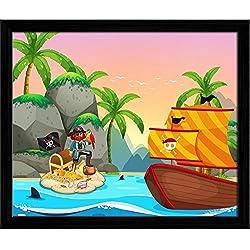 """Cuadro """"Ocean Scene with Pirate & Treassure"""", 11,9 x 10 cm."""