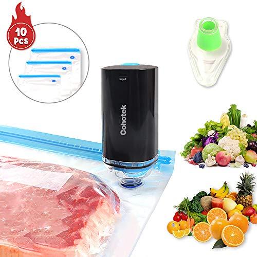 Cohotek Vakuumierer für Lebensmittel, Mini-Vakuumiergerät mit 10er-Vakuumbeutel & 1 Vakuum Flaschenverschluss, Tragbar USB-Wiederaufladbar Folienschweißgerät für Küche und Heimgebrauch