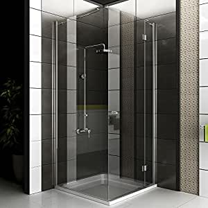 echtglas eck dusche duschkabine rahmenlos glasdusche ca 90 x 90 x 200 cm alpenberger. Black Bedroom Furniture Sets. Home Design Ideas