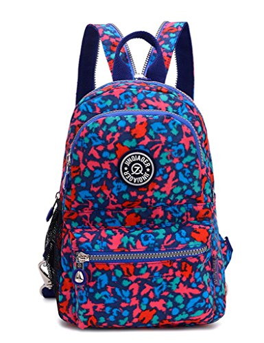 TianHengYi Girls Small Water Resistant Nylon Backpack light Sling Chest Bag Red Blue Leopard