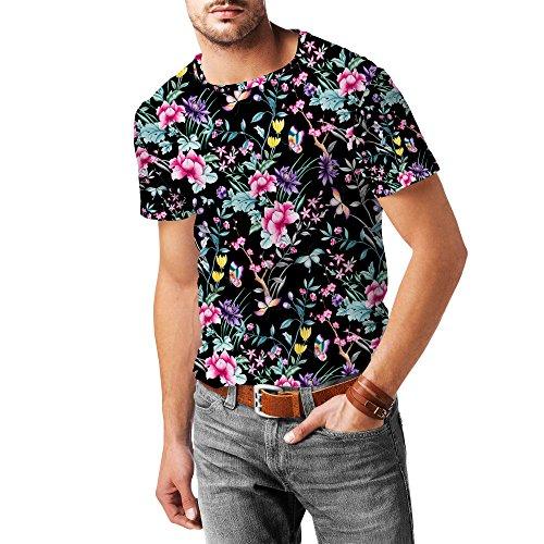 Floral Chinoiserie Mens Sport Mesh T-Shirt Herren XS - 3XL Black