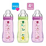 MAM Flaschen Babyflaschen Easy Active Baby Bottle Set Girl // 3 x Baby Bottle 330 ml // mit Sauger Gr.2