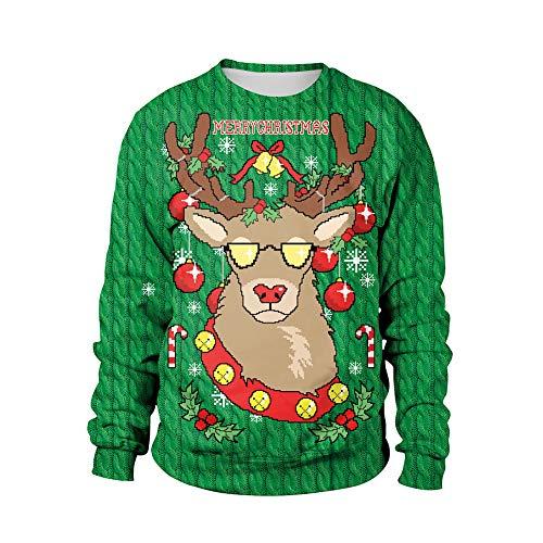Frauen Lange Ärmel Round Neck Weihnachts-Sweatshirt Sweater Casuals Party Prom Kostüme Weihnachten/Karnevalsfest (M-2XL),3,XL