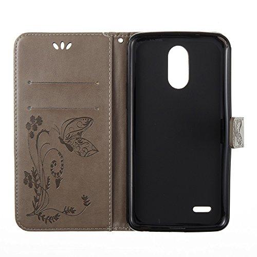 EKINHUI Case Cover Solid Color Faux Leder Bookstyle Brieftasche Stand Case mit geprägten Blumen & Lanyard & Card Slots für LG LS777 ( Color : Coffee ) Gray