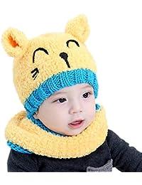 a4a035f9dda AnKoee Chapeau enfant Bébé Chapeaux Ensemble Bonnet Echarpe Hiver Chaudes  Casquettes Écharpe Réchauffez