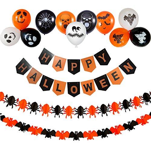 Halloween Party Dekoration, Wartoon Happy Halloween Bunting Banner mit Halloween ziehen Blumen Papier Spinnen Fledermaus Dekoration und 30 PCS Halloween (Für Dekorationen Halloween)