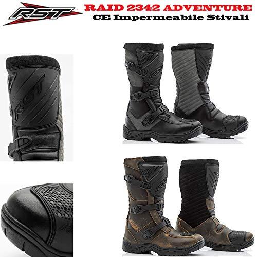 Stivali per Avventura RST 2342 Raid Adulti Stivali Moto Impermeable Quad off-Road Enduro Trail Sportivi Racing Touring Stivale omologato CE (Nero/Griogio,EU 44)