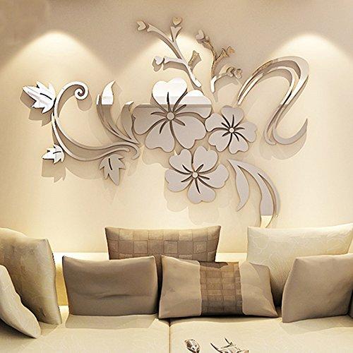 Alicemall Spiegel Aufkleber 3D Wandaufkleber Fenster Abziehbilder Wand Dekoration TV Hintergrund Deko Wandtatoo - Spiegelfläche Blumen