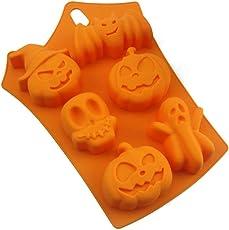 Rocita Silikon-Form-Halloween-Süßigkeit-EIS-Würfel-Form Tabletts Geist-Kürbis-Backen-Form für Halloween Chocolate Muffin Cups Ice Cube