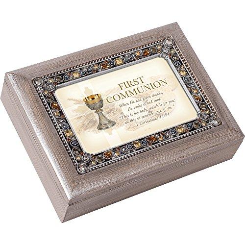 First Communion Do This in Zinn Ton Edelsteinbesetztes Andenken Musik Box spielt auf Eagle 's Wings -