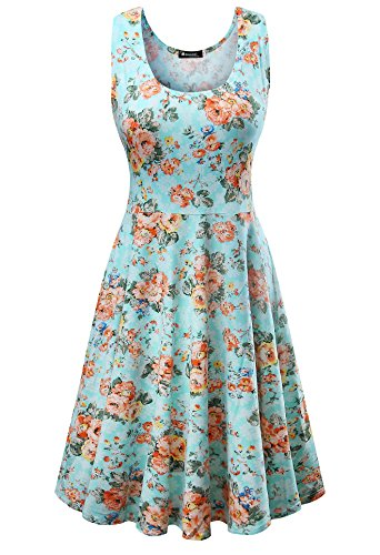 Damen Vintage Sommerkleid Traeger mit Flatterndem Rock Blumenmuster, Blau Flache, Gr. XXX-Large / EU 46-48 Orange Floral Muster