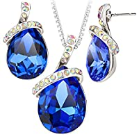 High Quality Blue Crystal Water Drop Leaves Romantic 18K Platinum Necklace Earrings Sets For Women Sets S20184-b