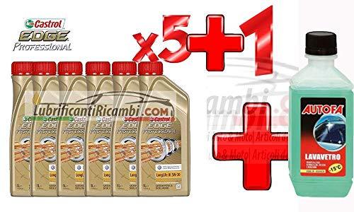 5 L Litro olio motore CASTROL EDGE FST LONGLIFE ll03 5W30 - in latte da Singolo Litro + 1 x Autofà Liquido Lavavetro -15°c ml 250 Omaggio
