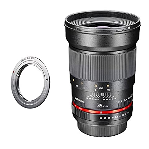 Walimex Pro 35mm 1:1,4 DSLR Objektiv Pentax K (manueller Fokus, für Vollformat Sensor gerechnet, Filterdurchmesser 77mm, IF, mit abnehmbarer Gegenlichtblende, inkl. Canon EOS Adapter)