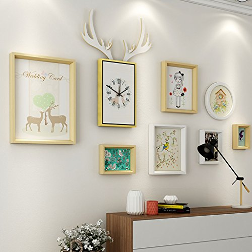 & Wandmontage Design Wohnzimmer Massivholz Bilderrahmen Wand Sets Von 7, hängen Bilderrahmen Wand Wohnzimmer Schlafzimmer Kombination Bilderrahmen Wand Sofa Hintergrund Bilderrahmen Wand ( Farbe : I , größe : 7frames/156*87CM )