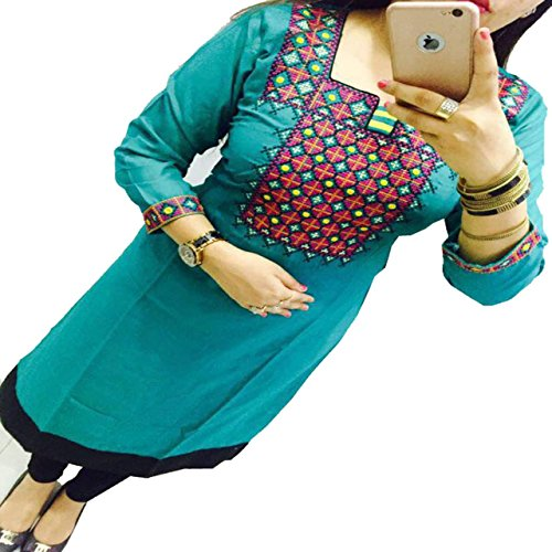 ZHot Fahion Women's Embroidered semi-stitched Selfie Kurti In Georgette Fabric (ZHKRT1005_Free Size_Sea Blue)  available at amazon for Rs.299