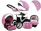 +++ SALE Raff White Lux System Kinderwagen Babywagen Buggy, Autositz Kinderwagen System 3 in1 + Wickeltasche + Regenschutz +Insektenschutz (Set 3w1: Wanne + Sportsitz + Babyschale, Dark Pink)
