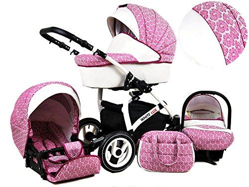 +++ SALE Raff White Lux System Kinderwagen Babywagen Buggy, Autositz Kinderwagen System 3 in1 + Wickeltasche + Regenschutz +Insektenschutz (Set 3w1: Wanne + Sportsitz + Babyschale, Dark Pink) (Kinderwagen-system)