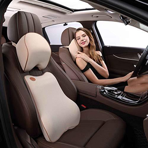 Ergoneer Premium Memory Foam Rückenkissen Lordosenstütze & Nackenstütze Kissen Autositz Kit für das Fahren von Büro und Zuhause (Beige)
