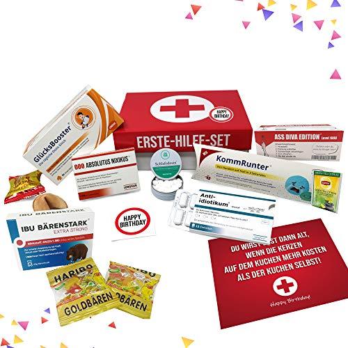 Geburtstagsgeschenk | Erste Hilfe Set Geschenk-Box, witziger Sanikasten | 9-teilig | Scherzartikel zum Geburtstag