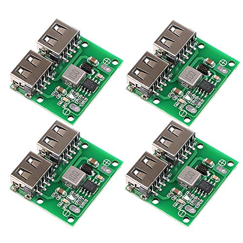 Innovateking-EU 4 Stück Step Down Converter Buck Converter Module USB 9V 12V 24V to 5V DC-DC Wandler Spannungsregler für Ladegerät Doppel USB Ausgangs 3A 6-26 V Autoladesteuerung -