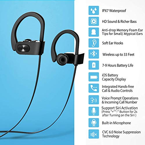 check out 558b0 a90b5 Mpow Flame Bluetooth Headphones Waterproof IPX7, Wireless Earbuds Sport,  Richer Bass HiFi Stereo in-Ear Earphones w/Mic, Case, 7-9 Hrs Playback  Noise ...