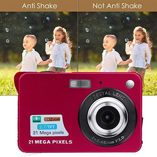 Dkings Digitalkamera-Camcorder 21MP Full HD WiFi-Kamera 2.7HD-Bildschirm Digitalkamera 21MP Anti-Shake-Camcorder mit Gesichtserkennung Schwarzweiß wasserdichte Digitalkamera Full HD (Red)