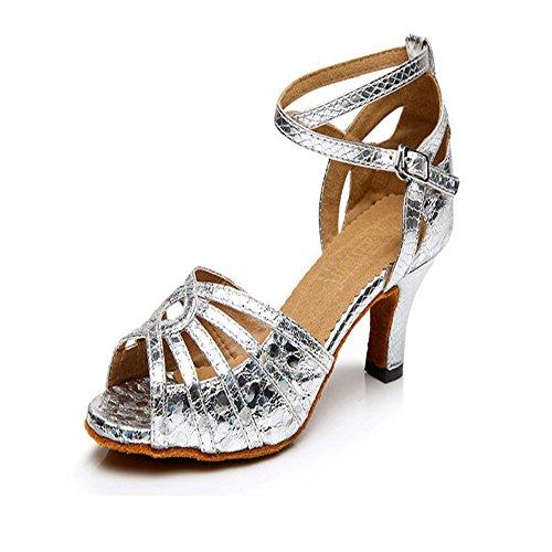 TMKOO& Latein Gesellschaftstanz Schuhe Sandalen weibliche erwachsene Tanzschuhe mit weichen unteren quadratischen Tanzschuhe Sommer Silber