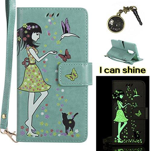 Preisvergleich Produktbild Honor 6X Hülle Flip-Case Premium Kunstleder Tasche im Bookstyle Klapphülle mit Weiche Silikon Handyhalter Lederhülle für Huawei Honor 6X Luminous Mädchen Katze case Hülle +Stöpsel Staubschutz (7)