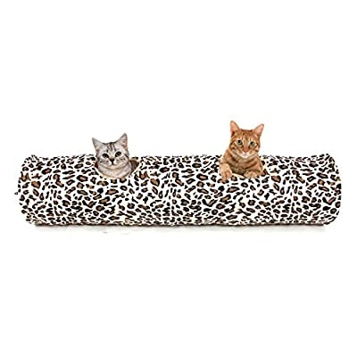 PAWZ Road Cat Tunnel Leopard Print Crinkly Cat Fun 2 Holes Long Tunnel Kitten Toys 126x25cm
