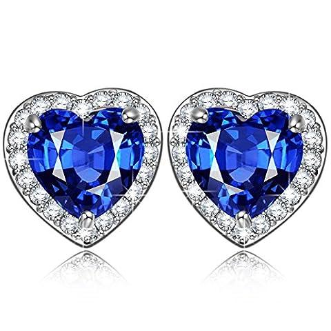Pauline & Morgen Amour étoilé Boucles d'Oreilles femme Bijoux bleu cœur coeur cadeau anniversaire Noel saint valentin fete des meres maman cadeaux de