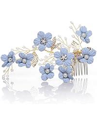 AWEI Floral Peigne à Cheveux Décoratif en Perles Naturelles et Strass, Accessoires Cheveux Mariée pour Mariée et Demoiselles D'honneur