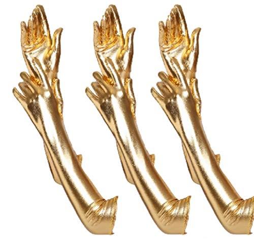 krautwear® Damen Finger Handschuhe Glitzer Metallic ca. 44 cm Lang Gold Silber (3x ()