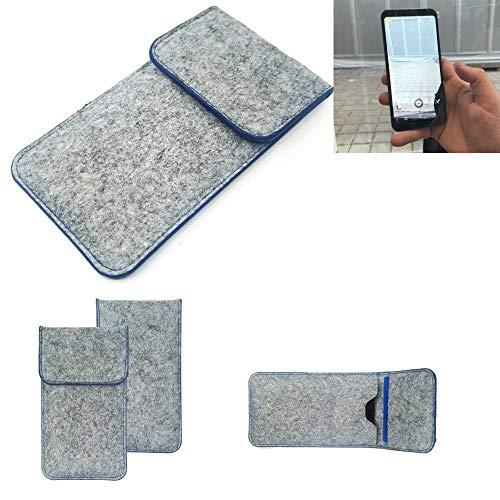 K-S-Trade® Filz Schutz Hülle Für Energizer Powermax P600S Schutzhülle Filztasche Pouch Tasche Case Sleeve Handyhülle Filzhülle Hellgrau, Blauer Rand