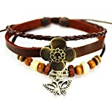 MORE FUN Flower Leather Fashion Charm Butterfly Metal Pendant Adjustable Button Bracelet